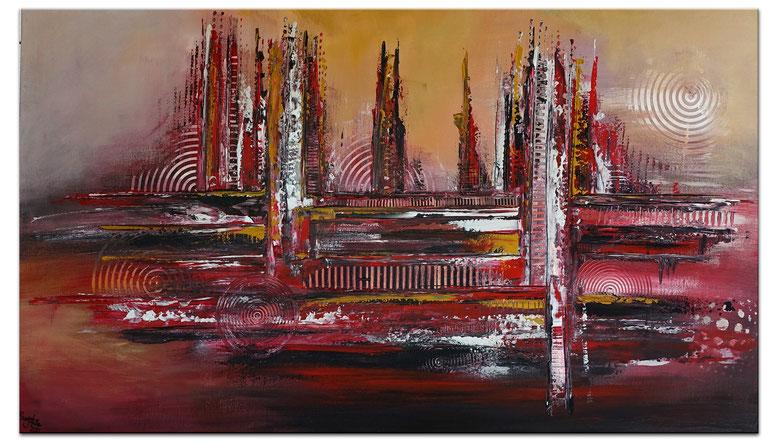 Marrakesch Skyline Abstrakte Malerei rot gold Wandbild Leinwandbild 81x116