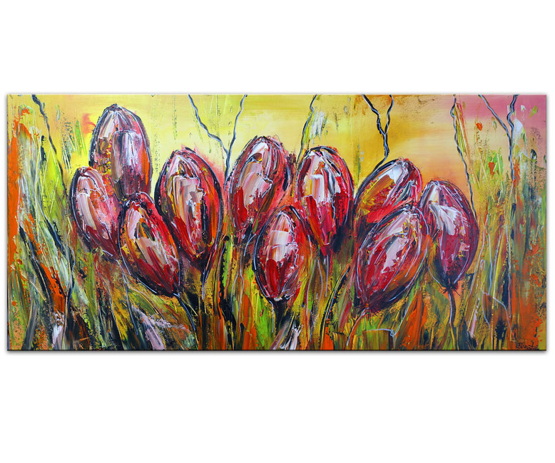 Abstraktes Blumenbild Gemälde Unikat handgemalt 50x100 Modernes Blumenbild