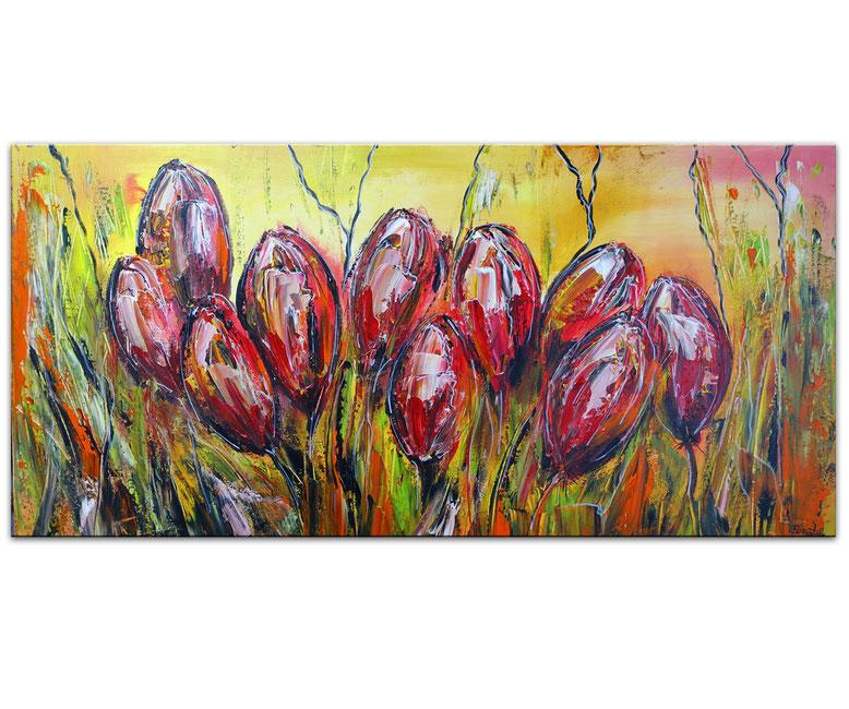 Tulpen Blumen Bild Wandbild Acrylbild Künstler Unikat handgemalt