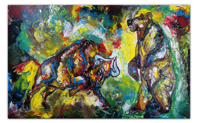 Bulle und Bär Börse 2 XXL Wandbild Acrylbild Unikat Moderne Malerei 160x100 cm