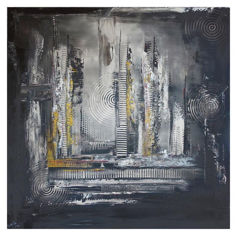 Schwarz grau Ocker abstraktes Kunstbild Malerei Gemälde Unikat 100x100