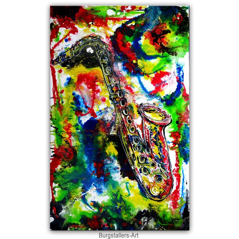 Saxophon 73x116 Gemälde Acrylbild Malerei Instrument Musikbild