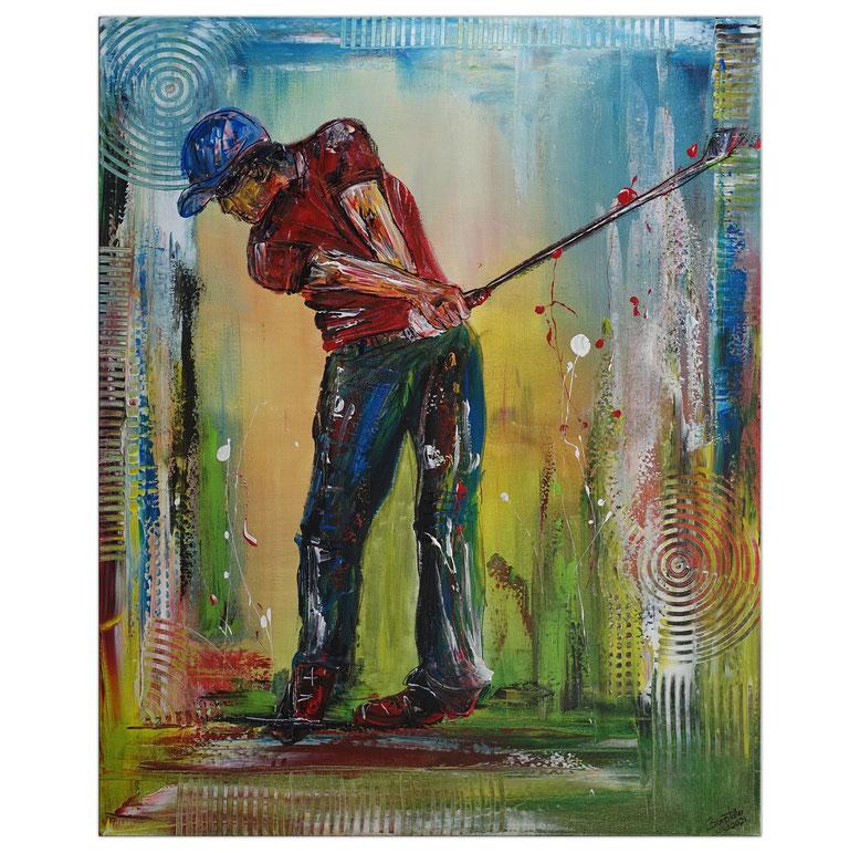 Golfer Abschlag Golfbild Golfspieler Malerei Wandbild Gemälde Unikat Acrylbild