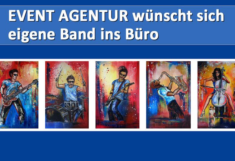 Eine eigene handgemalte Band - Musiker Bilder und Gemälde für eine Event Agentur