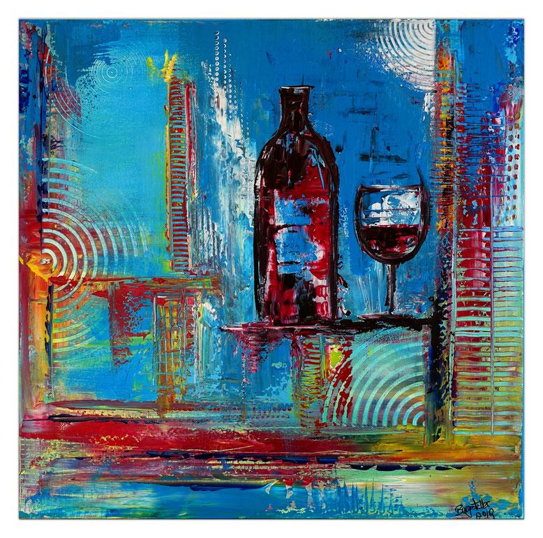 Rotwein Flasche Gläser abstrakt gemalt Acryl Malerei Leinwandbild blau rot 60x60