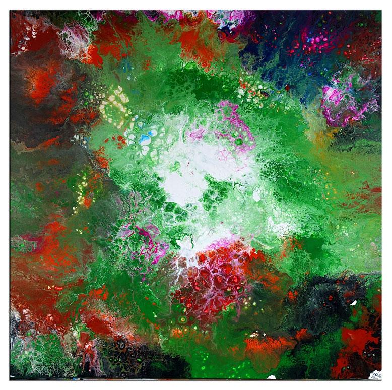 Buntes Wandbild Acrylbild blau gelb rot abstrakte malerei 80x80
