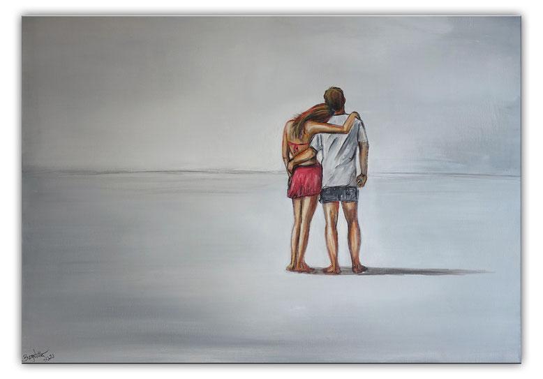 Mann Frau Liebespaar Strand Gemälde Malerei Kunstwerk 100x70