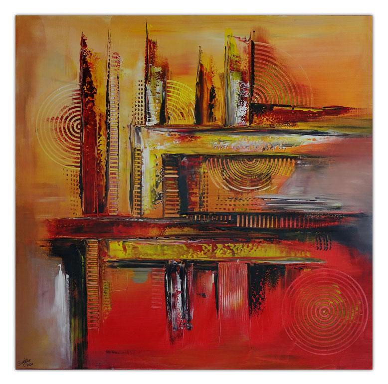 Abstrakte Malerei orange Wandbild Leinwandbild Original Gemälde Unikat Kunst