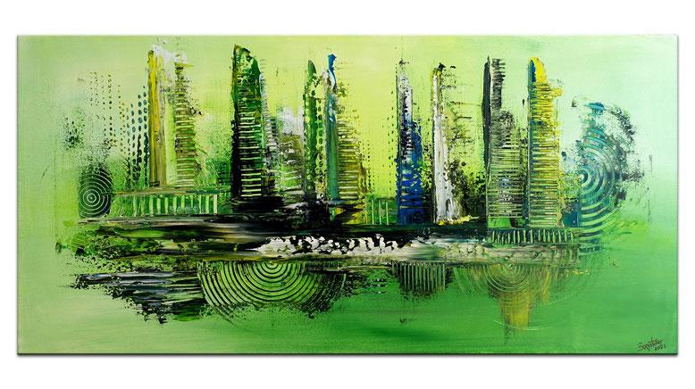 Abstrakte Kunst Bilder Grün Leinwandbild Acryl Gemälde 100x50