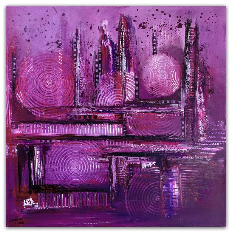 Lila City abstrakte Malerei Wandbild Moderne Kunst Original Gemälde 80x80