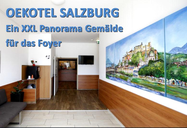 Oekotel Salzburg beauftragt ein XXL Panorama Gemälde der Altstadt Salzburg für das Foyer