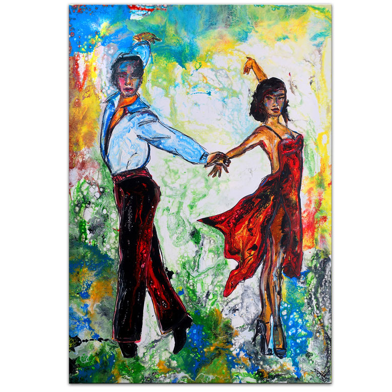 Salsa 21-1 Tanzbild Tanzpaar Modernes Leinwandbild Original Acrylgemälde 70x100