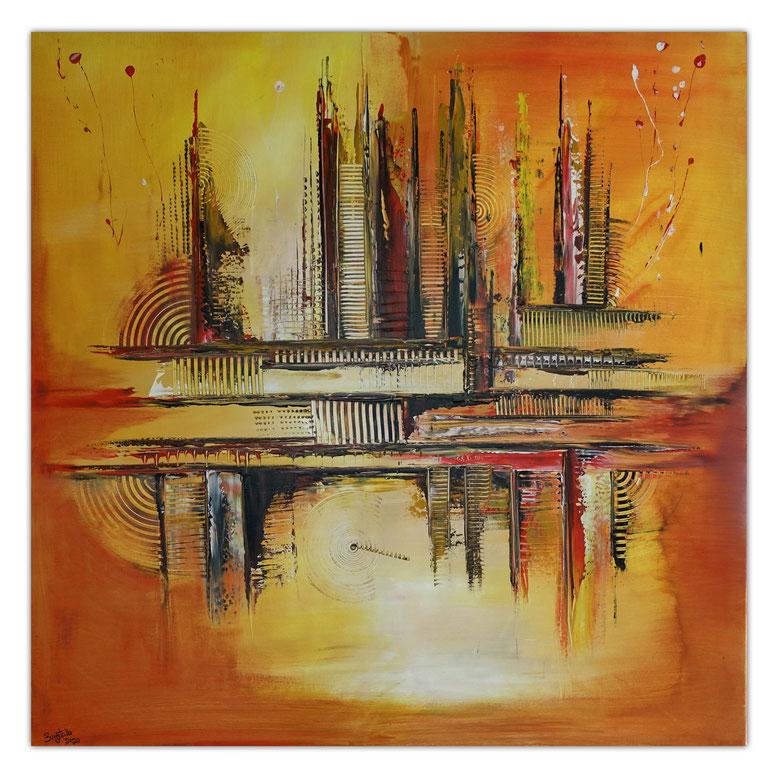 Summer abstraktes Wandbild Leinwandbild Büro Praxisbild gelb orange 100x100