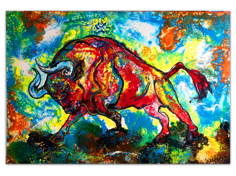 Stier 8 Bulle Wandbild abstrakt gemalt rot gelb Malerei Acrylbild Galerie