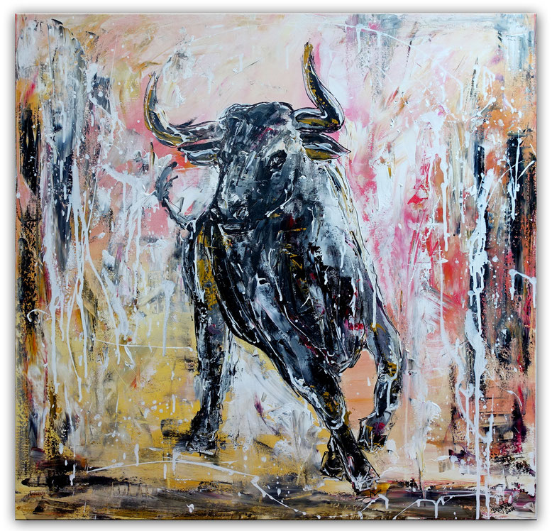 Sano - Wandbild wilder Stier Bulle Malerei handgemalt Original Gemälde
