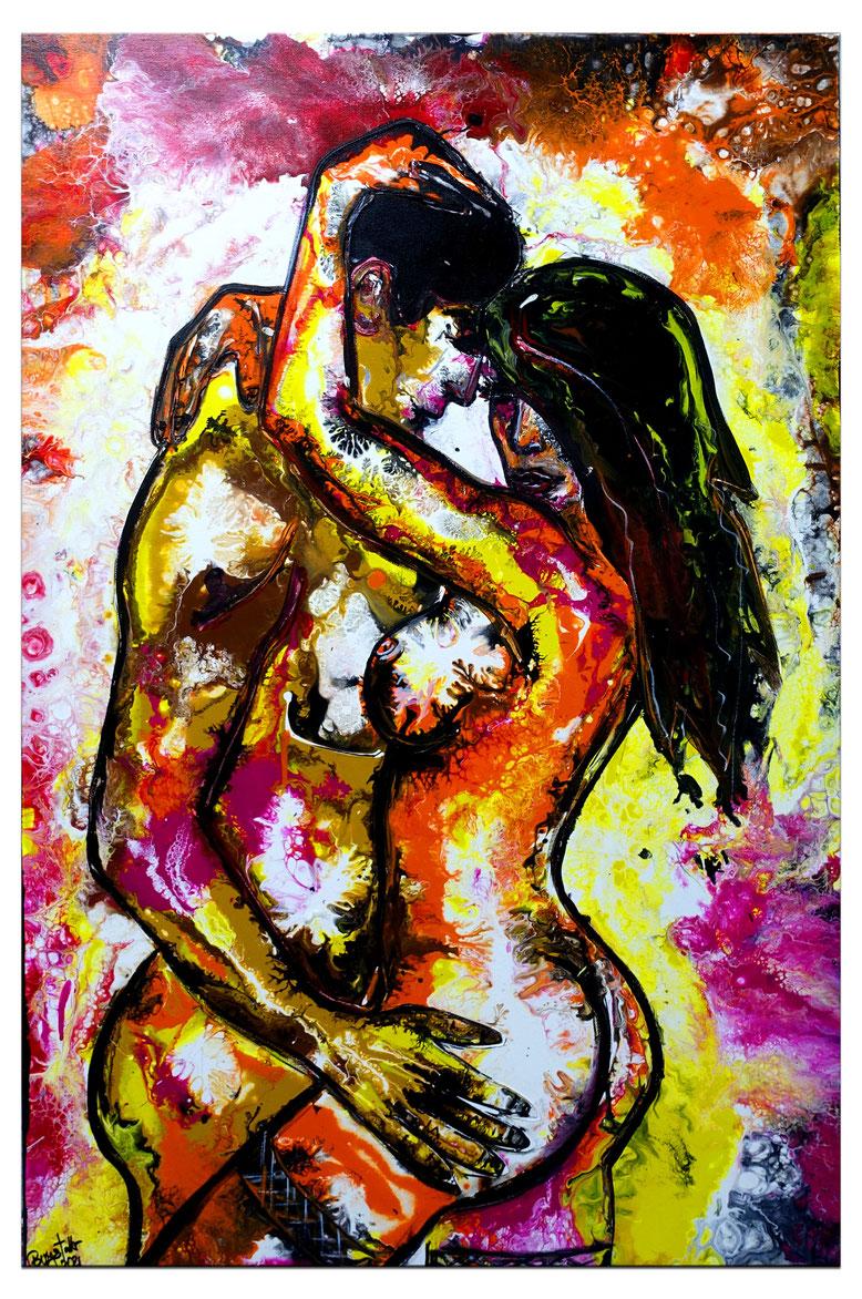 Zärtlichkeiten 2 erotische Malerei erotik Bild Liebespaar Akt abstraktes Wandbild 92x73