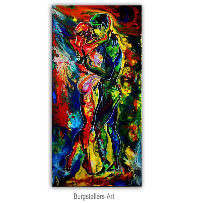 Begehrung Wohnzimmerbild Schlafzimmebild Liebespaar Mann Frau handgemalt Acryl Gemälde