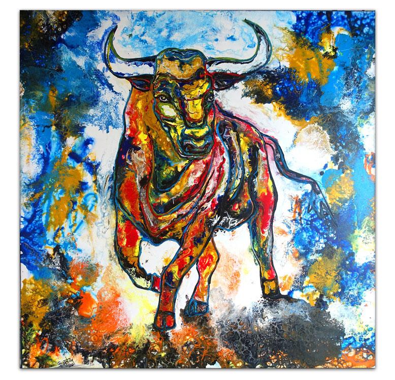 WAndbilder Stier Gemälde abstrakte Malerei Wilder Bulle rot blau gelb 100x100
