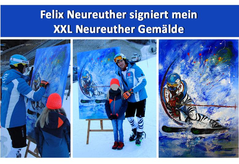 Skiläufer Felix Neureuther signiert mein XXL Neureuther Skifahrer Gemälde