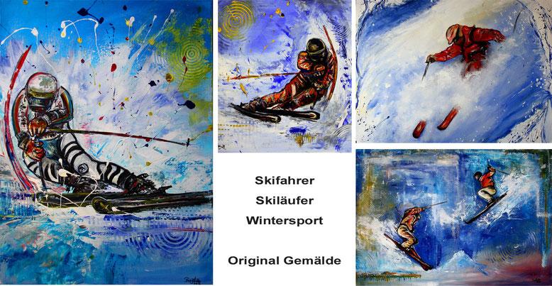 Skifahrer Bilder Ski Malerei Skiläufer Gemälde Snowboardfahrer Wandbilder Tiefschnee Ski Alpin