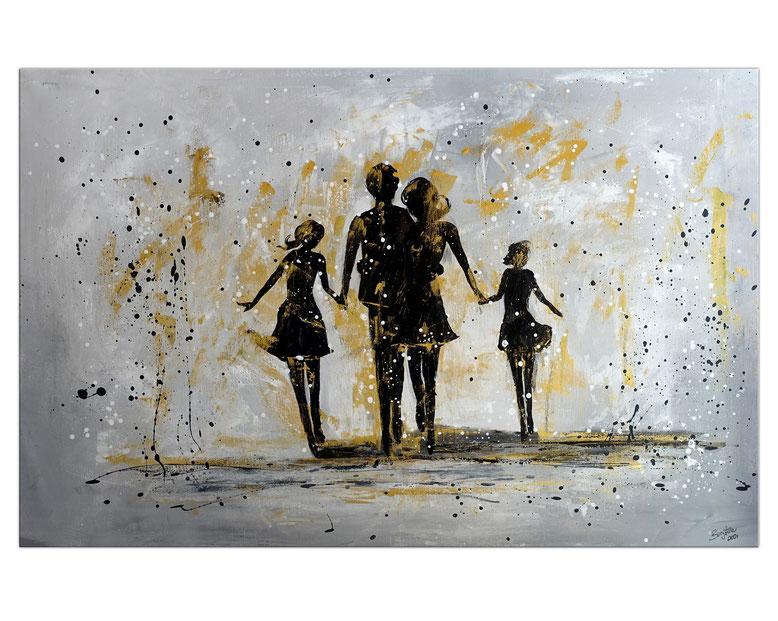 Familien Harmonie Eltern Kinder Bild Malerei Gemälde Modernes Kunst Unikat