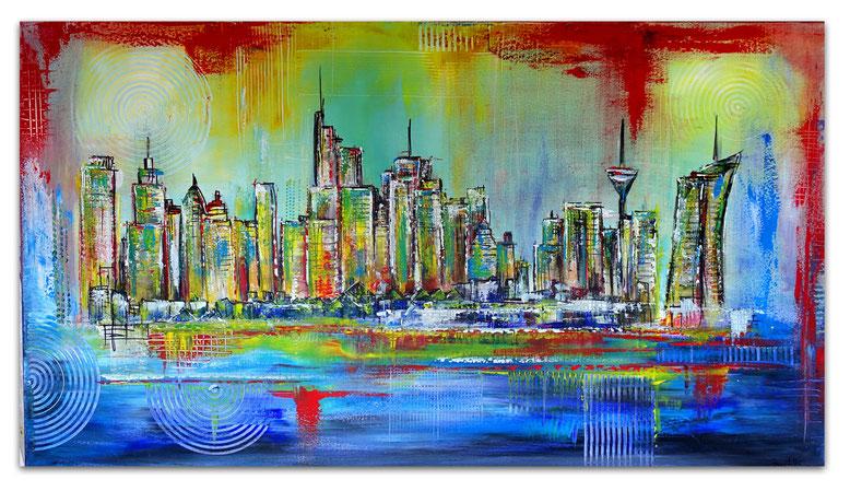 Frankfurt Skyline handgemalt abstrakte Malerei Gemälde Kunst Bild Acryl 80x140