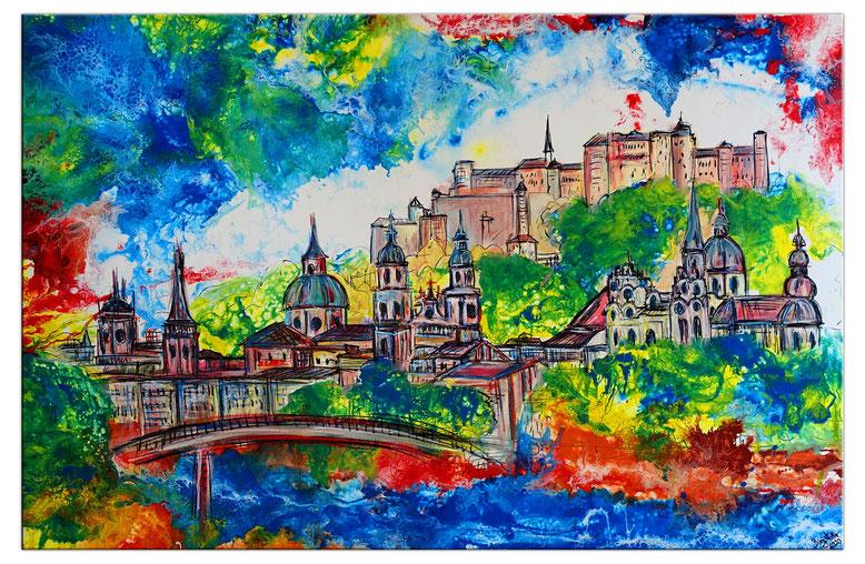 Salzburg Altstadt Festung Dom handgemalt Bild Gemälde