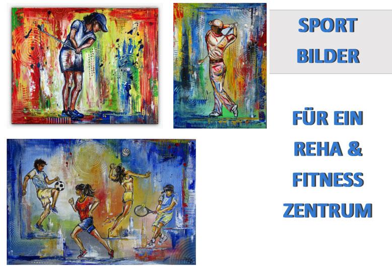 Handgemalte Sport Bilder und Sportmalerei für ein Reha Zentrum