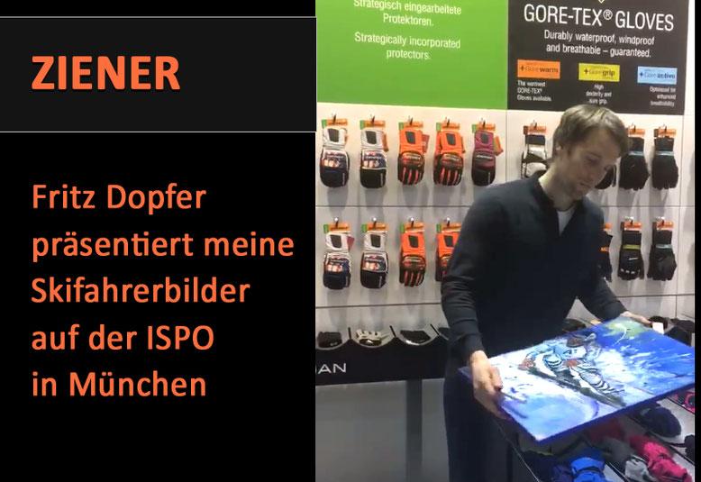Skiläufer Fritz Dopfer präsentiert handgemalte Skifahrerbilder auf der ISPO in München