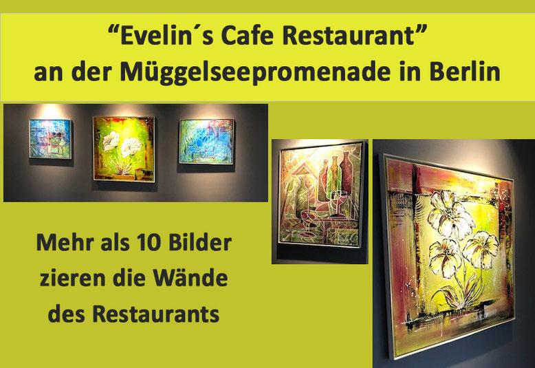 Zahlreiche Florale Gemälde schmücken das Evelin´s Cafe Restaurant in Berlin