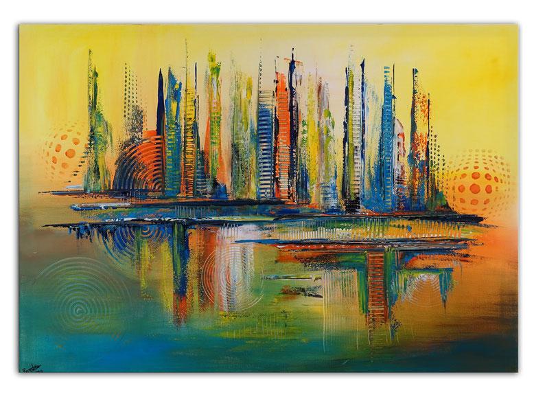 Texas Abstrakte Acryl Wohnzimmerbild handgemalt rot gelb XXL Bild Leinwandbild