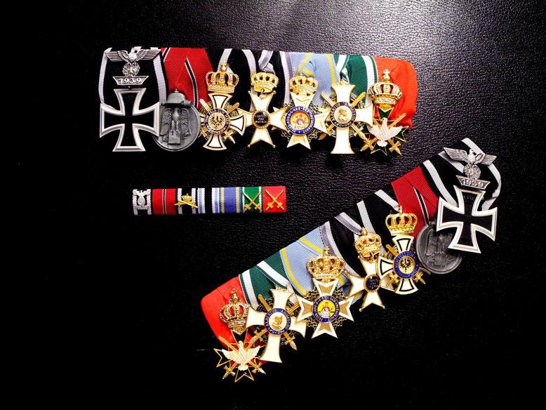 Drei Spangen der Wehrmacht: Ordensspange, Feldspange und Frackspange