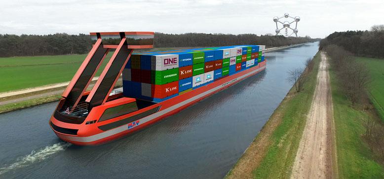 Port-liner, das erste vollständig elektrisch betriebene Binnenschiff