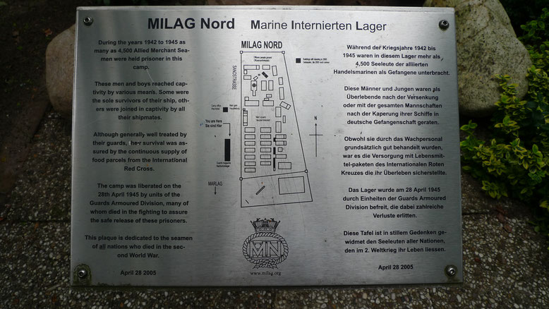 Deutsch-Englische Informationstafel am Standort des ehemaligen Milag Nord. Foto: A. Ehresmann, 12.7.2011