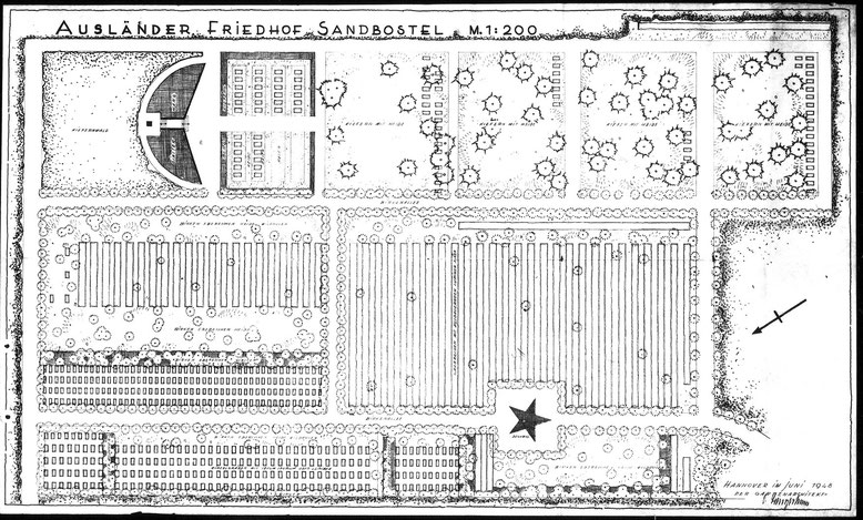 """Gestaltungsplan des zu diesem Zeitpunkt noch """"Ausländer-Friedhof Sandbostel genannten Lagerfriedhofs aus dem Jahr 1948. Erkennbar sind die verschiedenen nationalen Gräberfelder. Plan: Gartenarchitekt ??, Juni 1948."""
