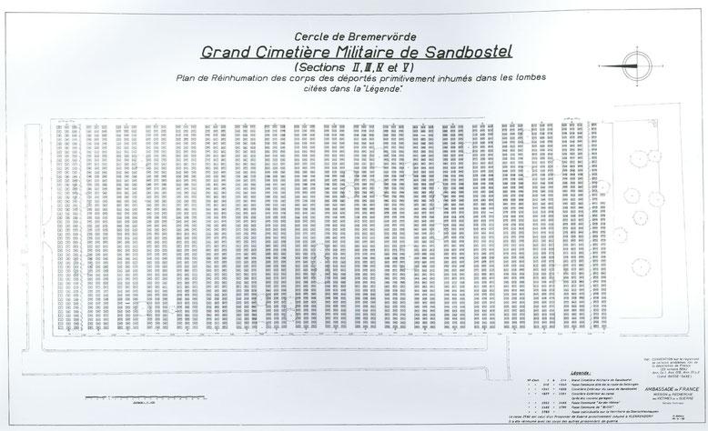 Lageplan des Gräberfeld II mit den umgebetteten Gebeinen der KZ-Häftlinge. Archiv KZ-Gedenkstätte Dachau