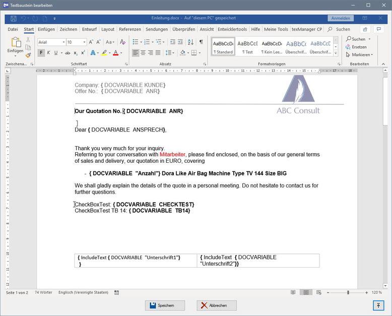 Textbaustein Dokumentenvariablen als Platzhalter