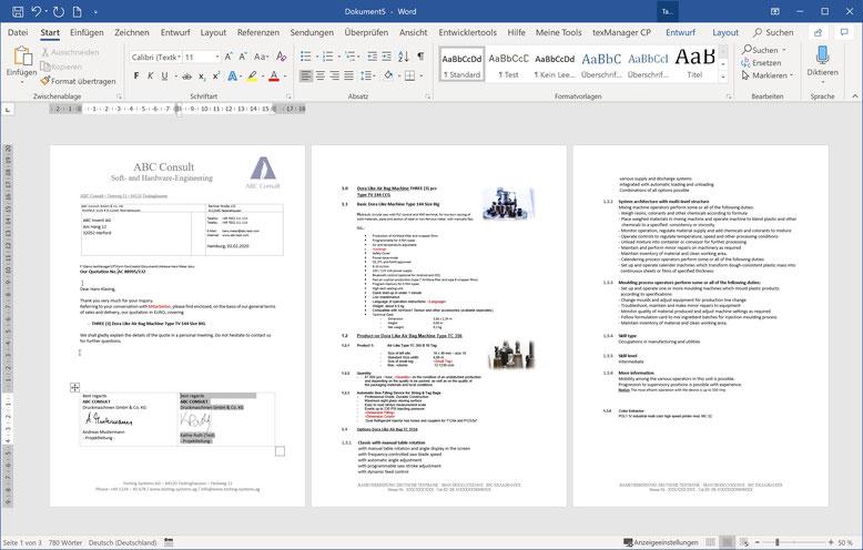 Automatisch generiertes Word-Dokument