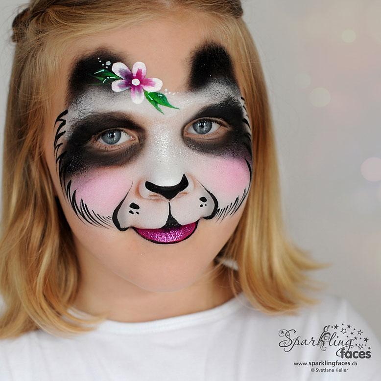 Kinderschminken_Vorlagen; Schminkfarben_kaufen_Schweiz; Kinderschminken_Kurse; einfach; Panda