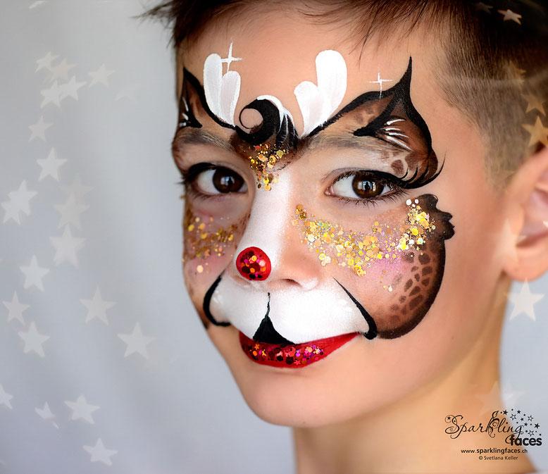 Kinderschminken_Vorlagen; Schminkfarben_kaufen_Schweiz; Kinderschminken_Kurse; einfach; Rentier