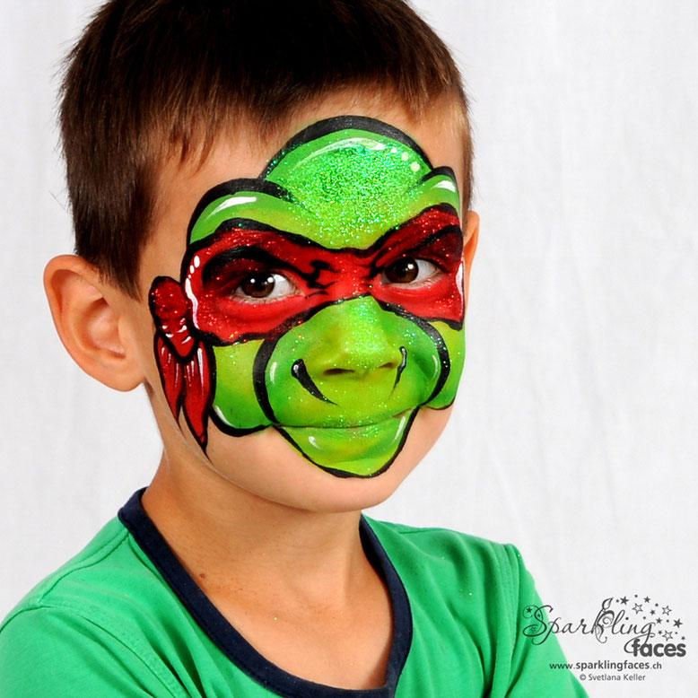 Kinderschminken_Vorlagen; Schminkfarben_kaufen_Schweiz; Kinderschminken_Kurse; einfach; Ninja Turtle