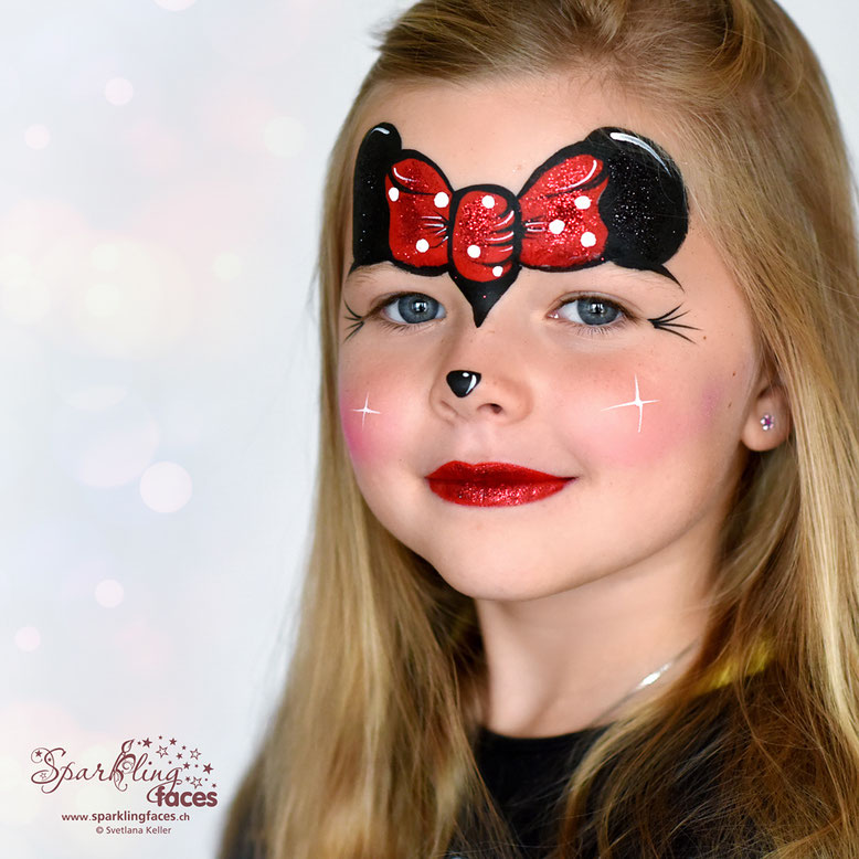 Kinderschminken_Vorlagen; Schminkfarben_kaufen_Schweiz; Kinderschminken_Kurse; einfach; Mini Mouse