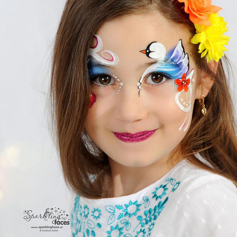 Kinderschminken_Vorlagen; Schminkfarben_kaufen_Schweiz; Kinderschminken_Kurse; einfach; Schwann