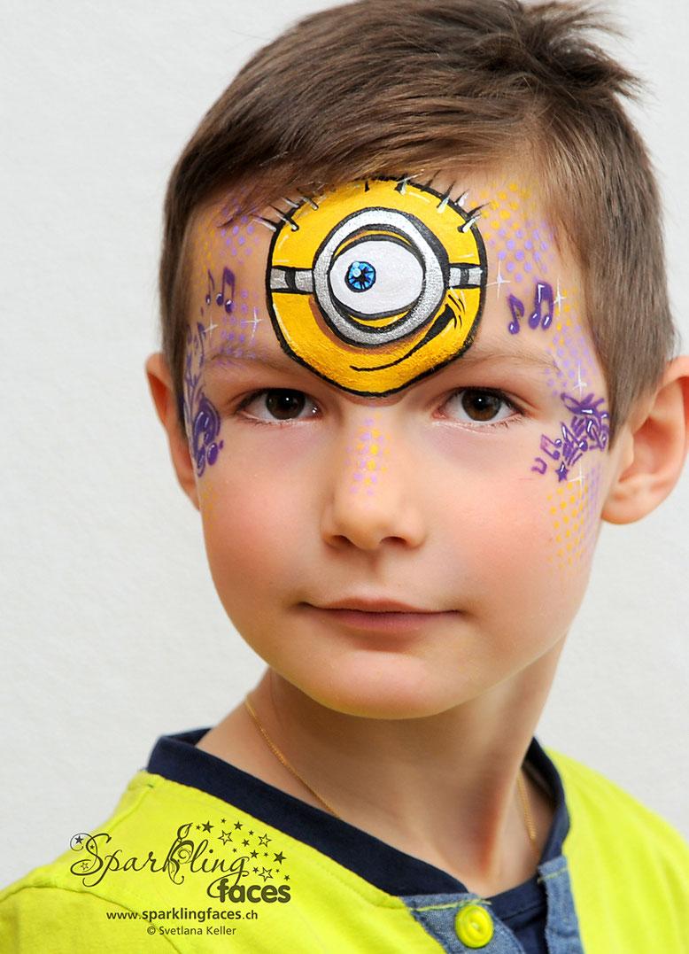 Kinderschminken_Vorlagen; Schminkfarben_kaufen_Schweiz; Kinderschminken_Kurse; einfach; Minion