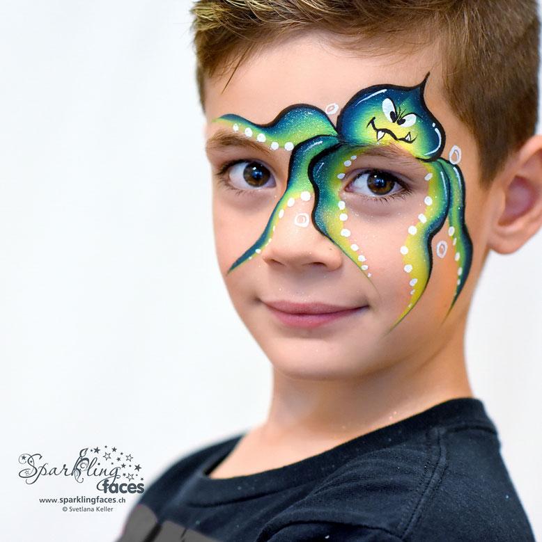 Kinderschminken_Vorlagen; Schminkfarben_kaufen_Schweiz; Kinderschminken_Kurse; einfach; Tintenfisch