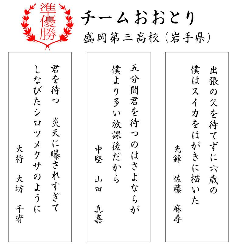 準優勝=チームおおとり 盛岡第三(岩手県)