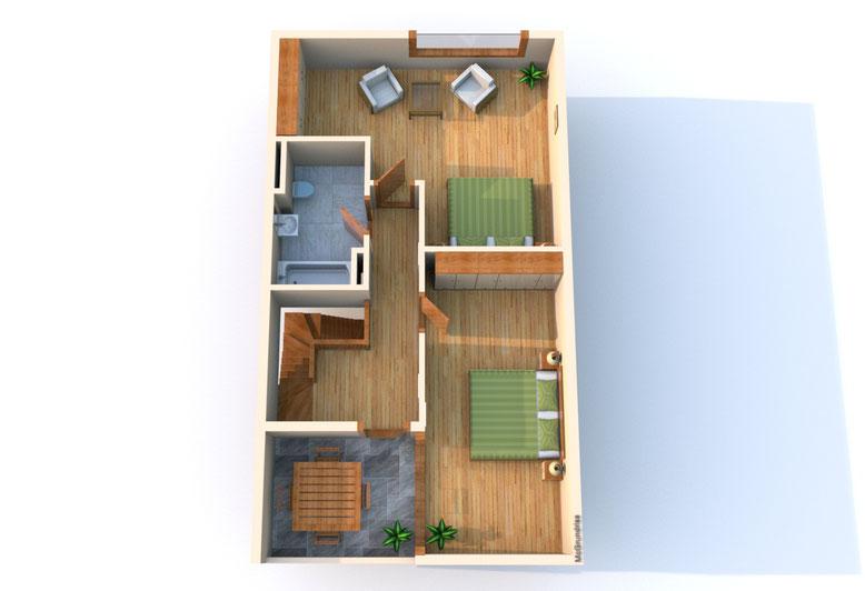 Das Obergeschoss der Maisonettewohnung 15.