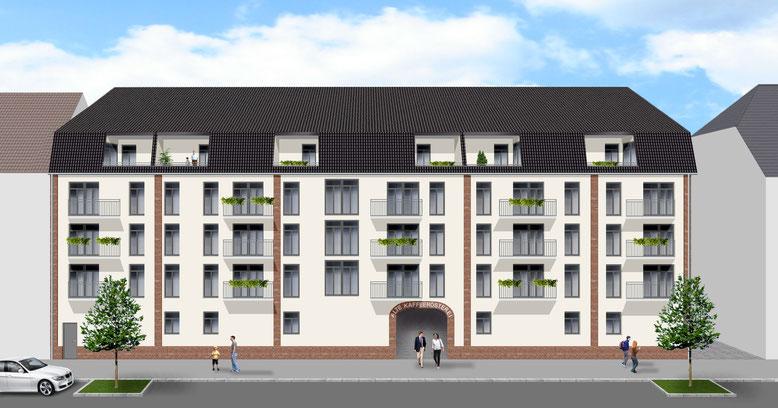 """Der Neubau """"Haus Arabica"""" wird die Baulücke an der Straßenfront schließen."""