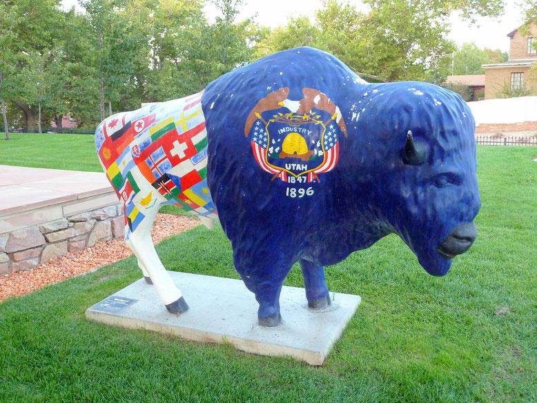 Painted Bison Sculpture anlässlich der Winter Olympiade 2002
