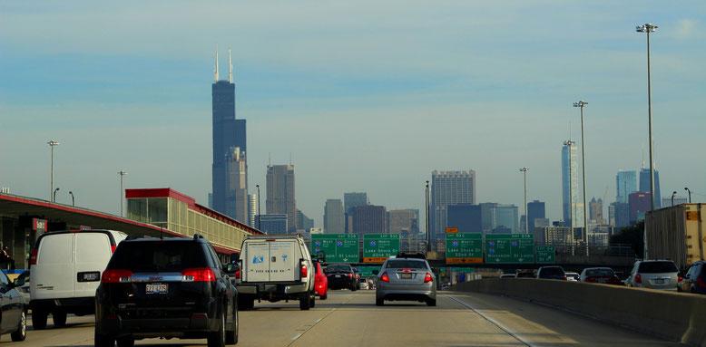 Anfahrt Chicago zur rush hour
